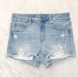 American Eagle Hi-Rise Shortie Jean Shorts Size 4